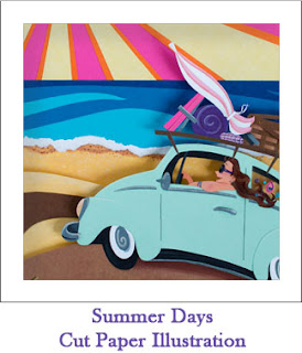 Tickled by the Creative Bug - Summer Days Cut Paper Illustration: Link to blog post