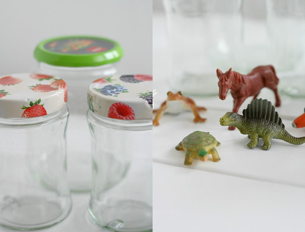 Creadienstag, Upcycling, Altglas, basteln, Plastiktiere, Frühlingsdeko, animals jars, DIY