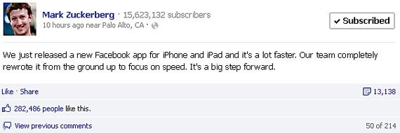Aplicatia Facebook pentru iOS pune accent pe viteza