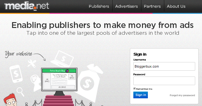 BloggerBux 50 ways to make money online on media.net - yahoo publisher