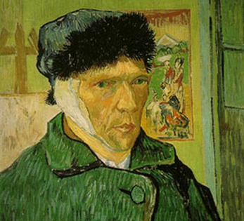 vincent van gogh's self portrait painting of him with bandaged ear