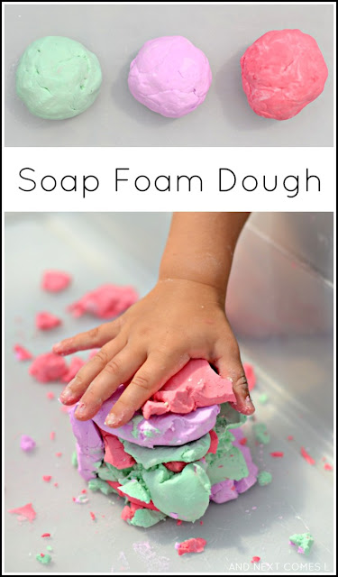 Soap foam dough - easy two ingredient sensory dough recipe for kids using soap foam from And Next Comes L