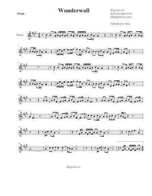 Partitura Wonderwall de Oasis FLAUTA Travesera, flauta dulce y flauta de pico (tonalidad original) sheet music flute. También sirve como partitura para Violín.