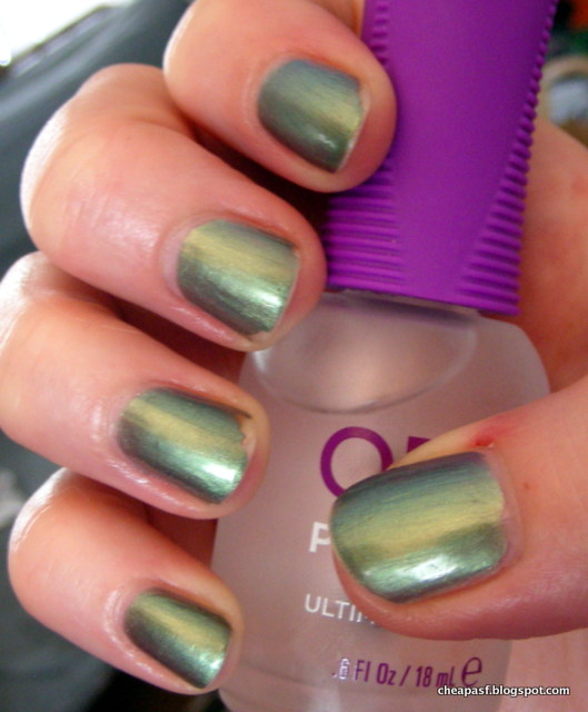 ULTA Jaded nail polish with Orly Polishield as topcoat.