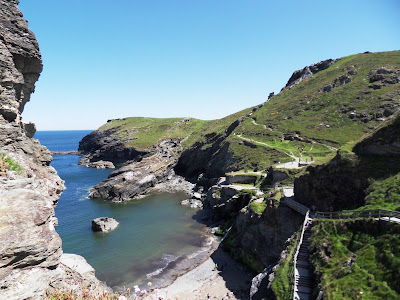Looking back to The Haven Tintagel from the steps
