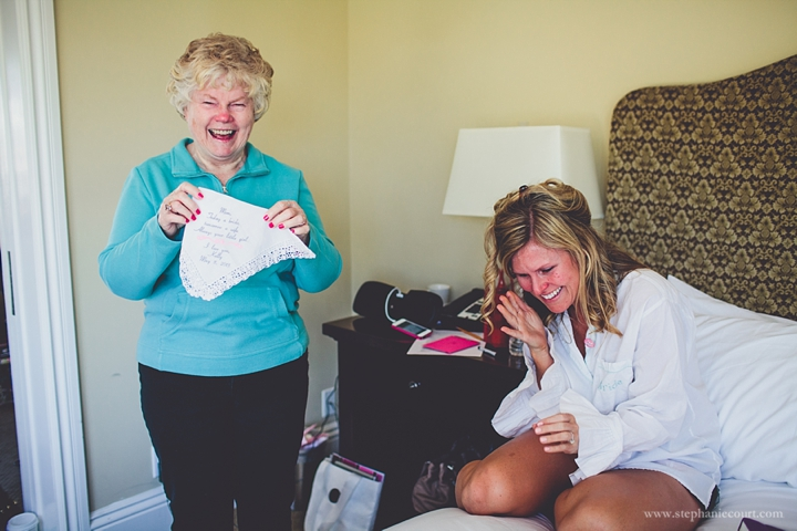 """bride and mom prepping for wedding"""