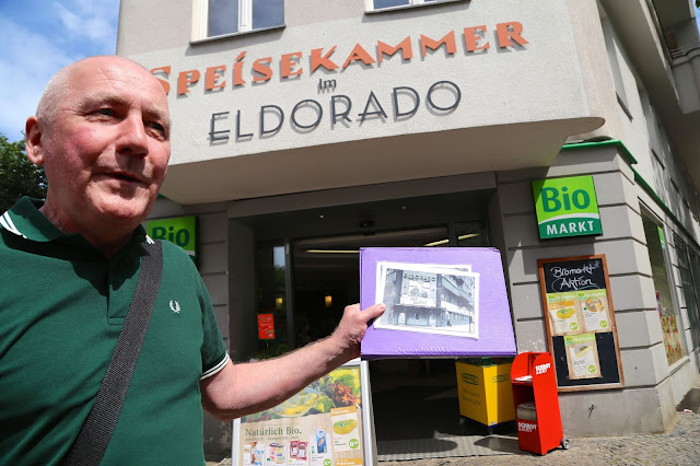 Nash outside the 'Kit Kat' club: the Eldorado, now an organic supermarket, Berlin.