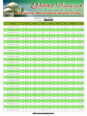 Jadwal Imsakiyah Tulungagung Ramadhan 1436 H