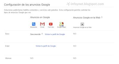 Configuración de anuncios de Google: sexo, edad e idiomas