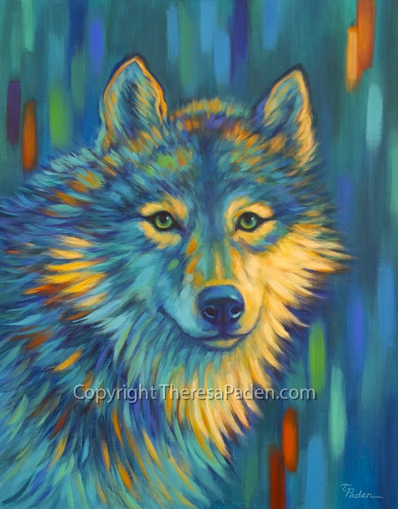 Contemporary Wolf Art In Bright Colors By Theresa Paden