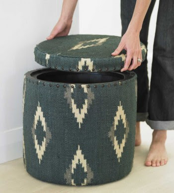 storage stool, wool fabric, ikat pattern
