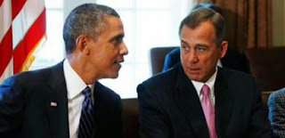 Picture of Obama speaking with Boehner