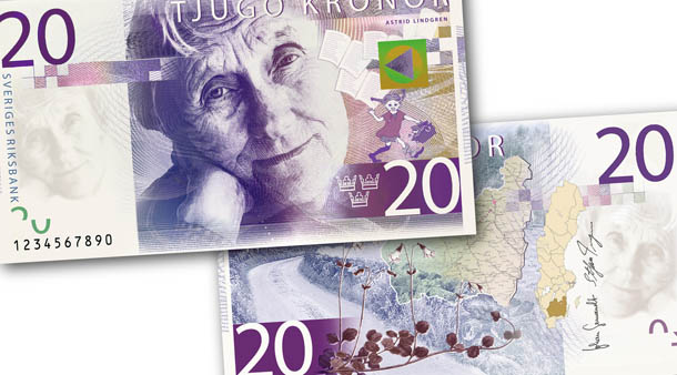 novas notas suecas - Astrid Lindgren