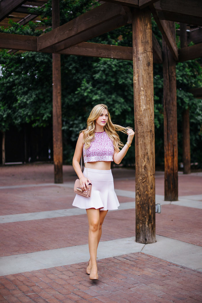 Elizabeth & James, Floral, Silk, Crop Top, ALC, Flared, Mid-Weight, Jersey, Mini Skirt, BCBG, Tan, JCrew, Martina, Patent, Wedge, Heel, Valentino, Rockstud, Va Va Voom, Gorjana, Gold, Delicate, Hand Chain, Neutral, Summer, Outfit Inspiration, Fashion Blog, Blogger, Beauty Blogger, Street Style, Caitlin Lindquist, A Little Dash of Darling, Kylee Patterson, Fashion, Photographer, Scottsdale, Phoenix, Arizona,