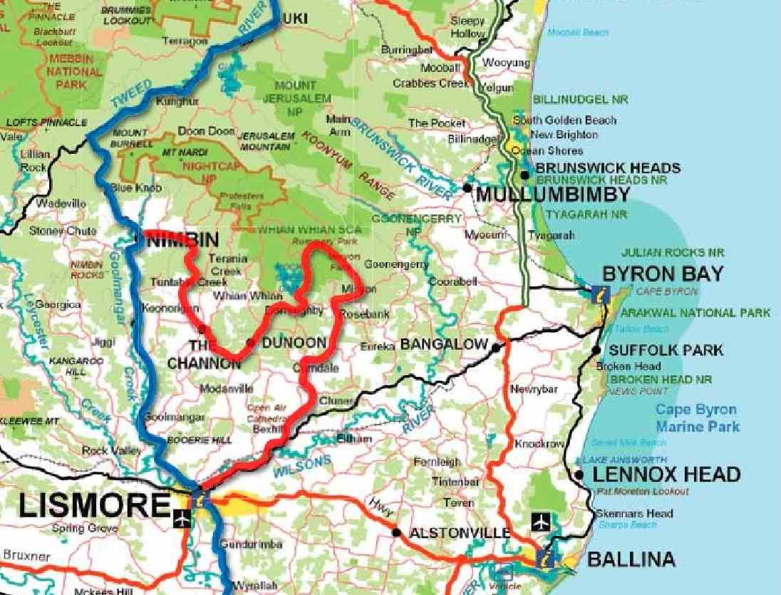 map of the area nimbin is a junction point and is in fact an interesting part of the history as well i ll get to that later but make note of the