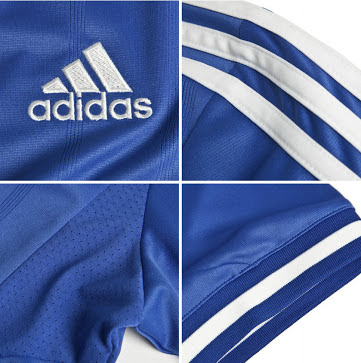 Chelsea home shirt features, logos, adidas, Samsung