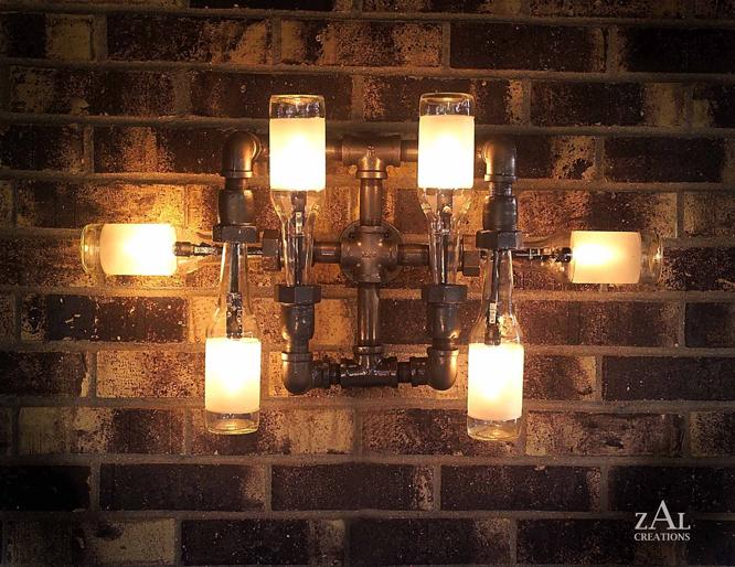 Steampunk revue stunning beer bottle plumbing pipe lamps for Plumbing light fixtures