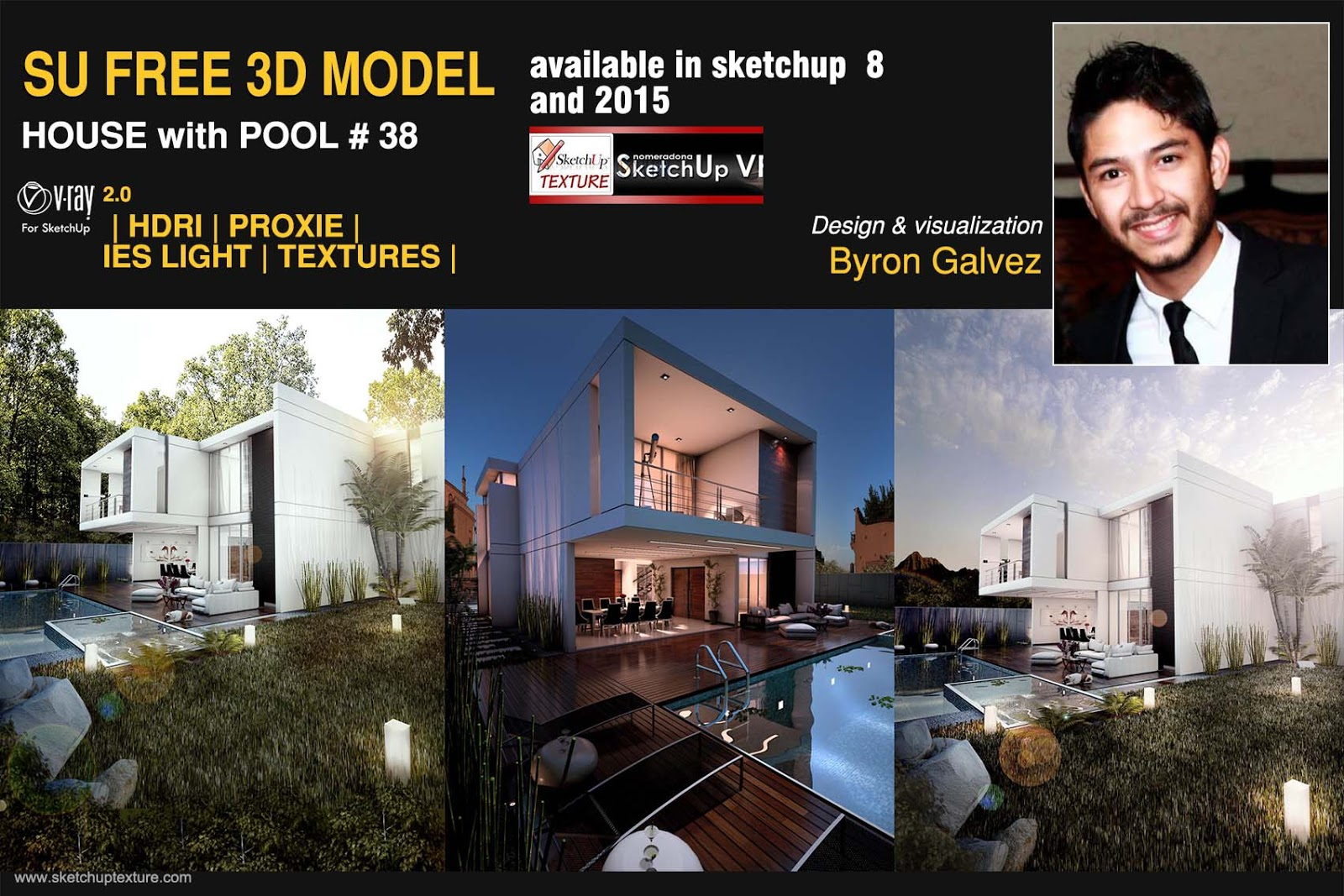 great free sketchup 3d model house with pool 38 tutorial sketchup