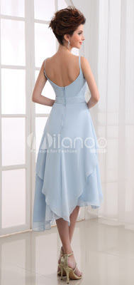 Bleu Spaghetti Robe de mariée d'été