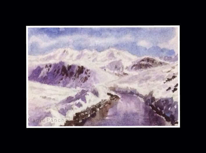 Thumbnail sketch of Road to Ladakh done using water colours by Manju Panchal