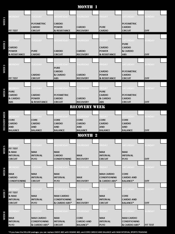 Insanity Workout Calendar Insanity workout calendar