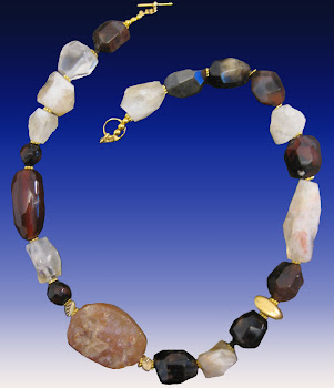 Brown Agate and Yellow Citrine Natural Gems Necklace