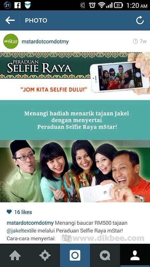 Menang Peraduan Selfie Raya Mstar