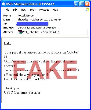 remove malwares and viruses usps fake emails now spread. Black Bedroom Furniture Sets. Home Design Ideas