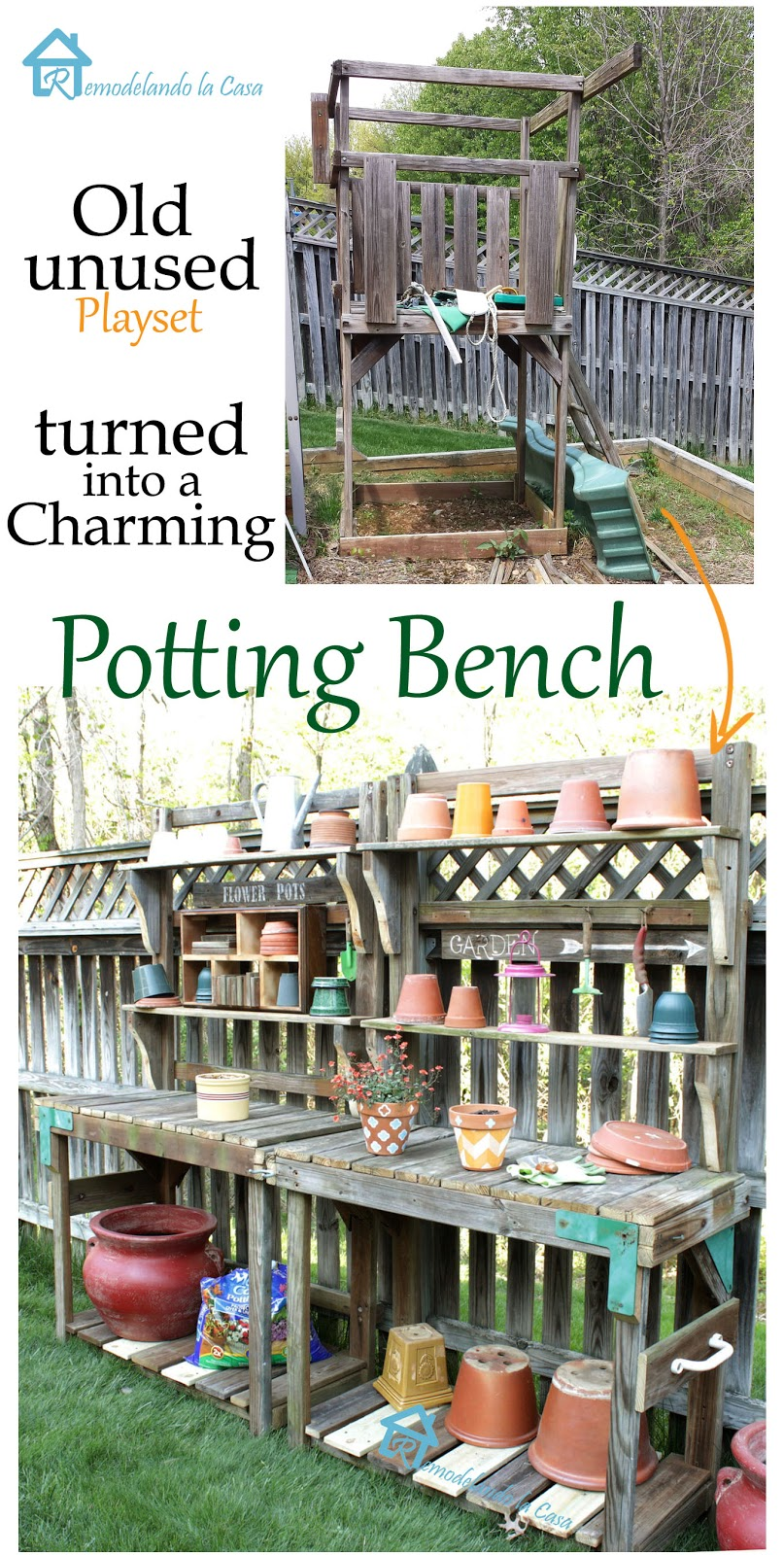repurpose an old playset into a potting bench