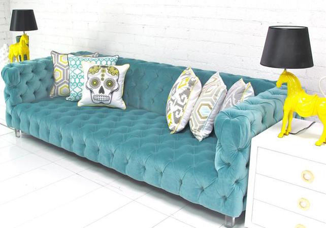 Room Service Aqua Tuxedo Sofa