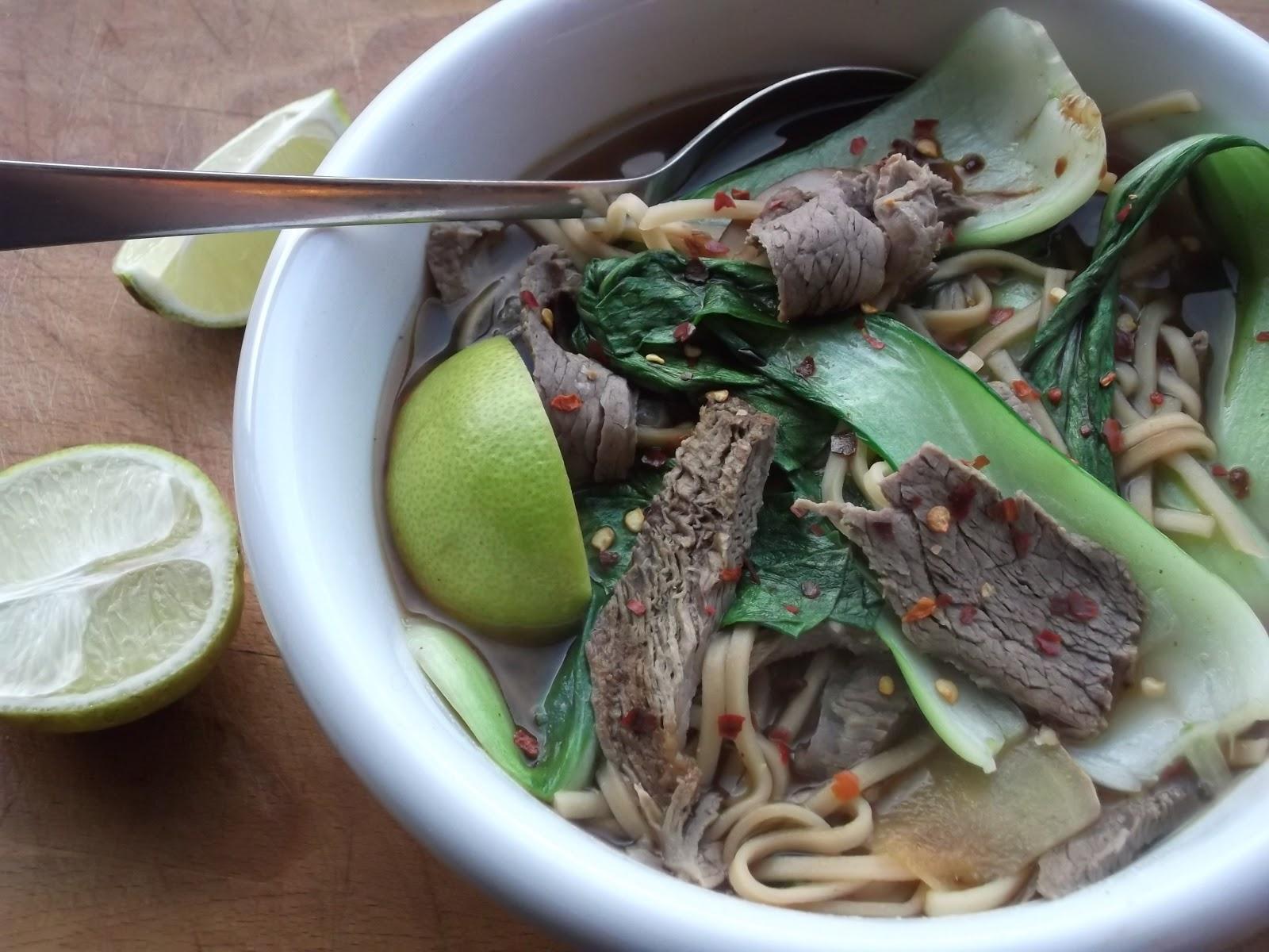 ... and noodle soup: super quick miso, pak choi and beef noodle soup