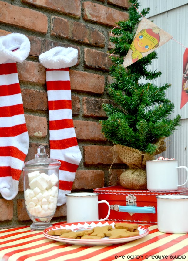 christmas tree, striped stockings, marshmallows, cocoa bar. cookies