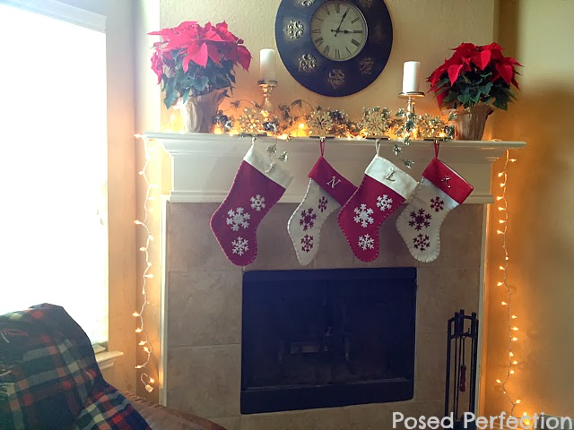 Poinsettia and Snowflake Christmas Mantel