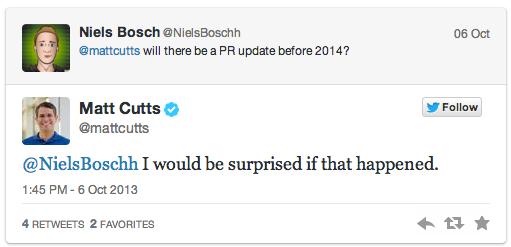 """Matt Cutts:""""Google chính thức không cập nhật và loại bỏ PageRank trong năm nay!"""""""