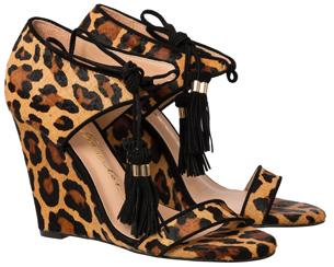 Luiza Barcelos Inverno 2015 Coleção Singular sandália em pelo leopardo modelo anabela