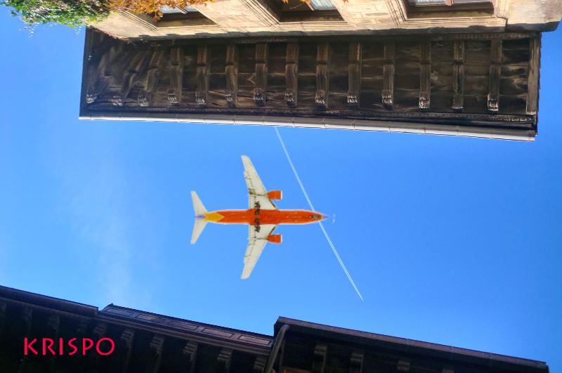 vista desde abajo de aleros de tejado con un avion