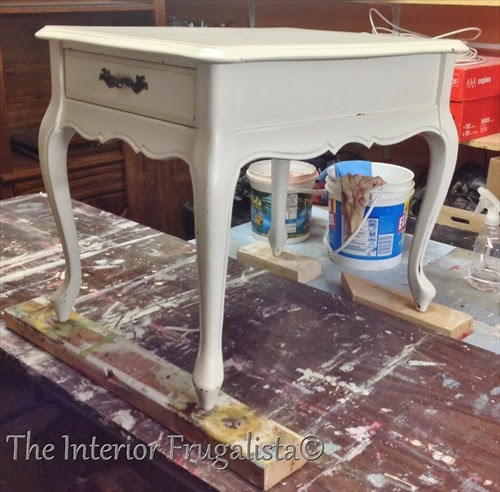 French Provincial Side Table BEFORE makeover.