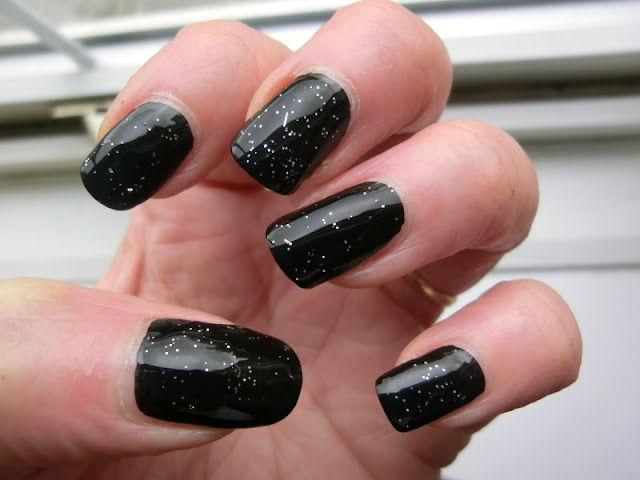 Simple Pleasures Black Polish Swatch with glitter
