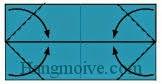 Bước 6: Gấp chéo bốn góc tờ giấy vào trong.