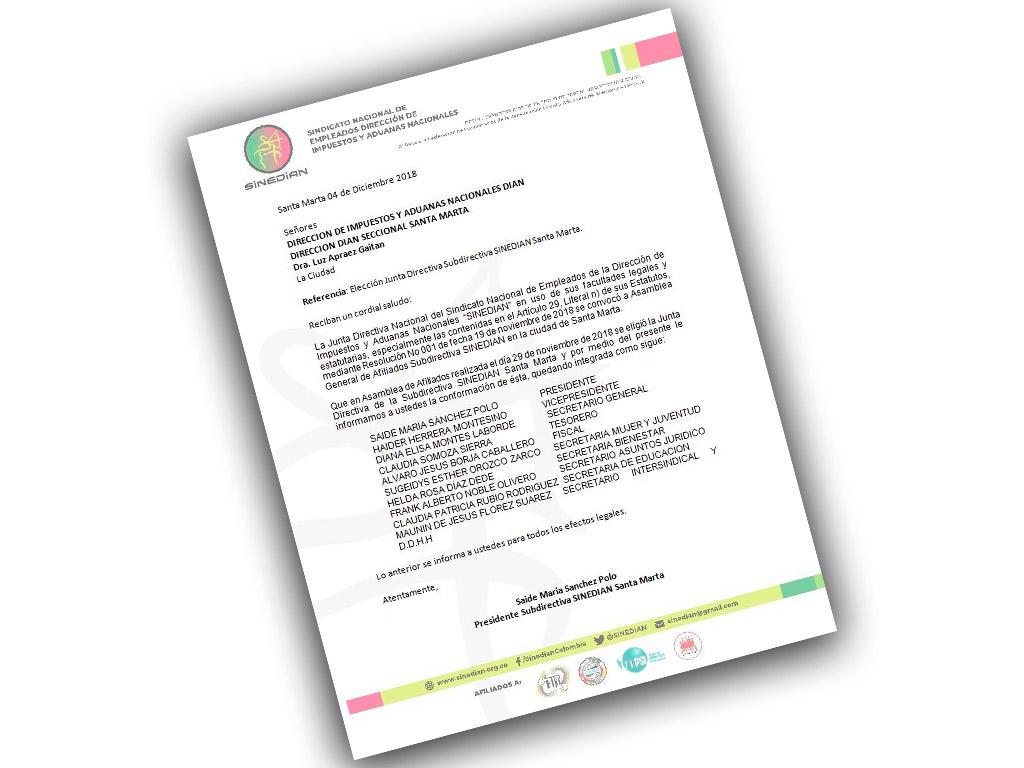 Elección Junta Directiva Subdirectiva SINEDIAN Santa Marta