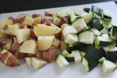 Diced potatoes and zucchini