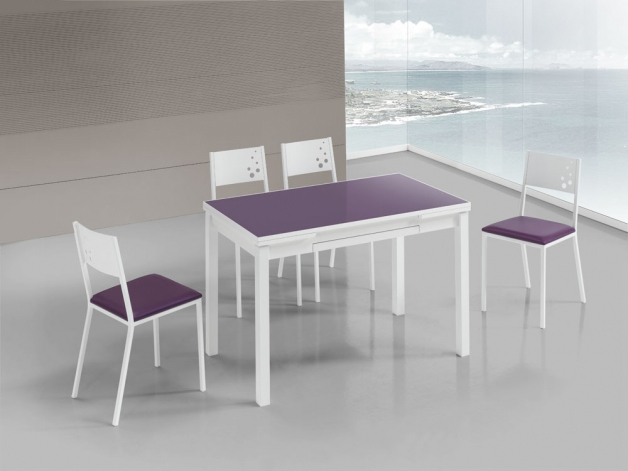 silla cocina blanca lila