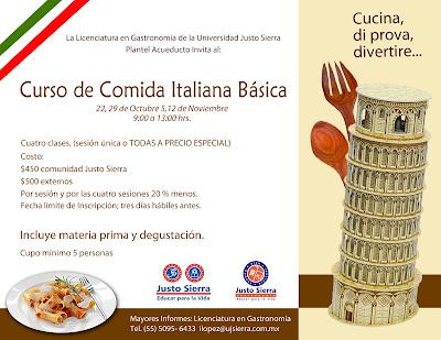 Educar para la vida curso de comida italiana b sica for Clases cocina italiana