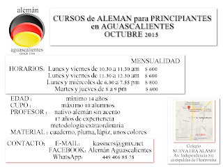 CURSOS de ALEMAN para PRINCIPIANTES adultos AGUASCALIENTES OCTUBRE 2015