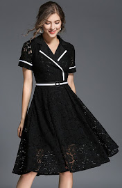 2018 Short Sleeve Black/White Flare Lace Dress
