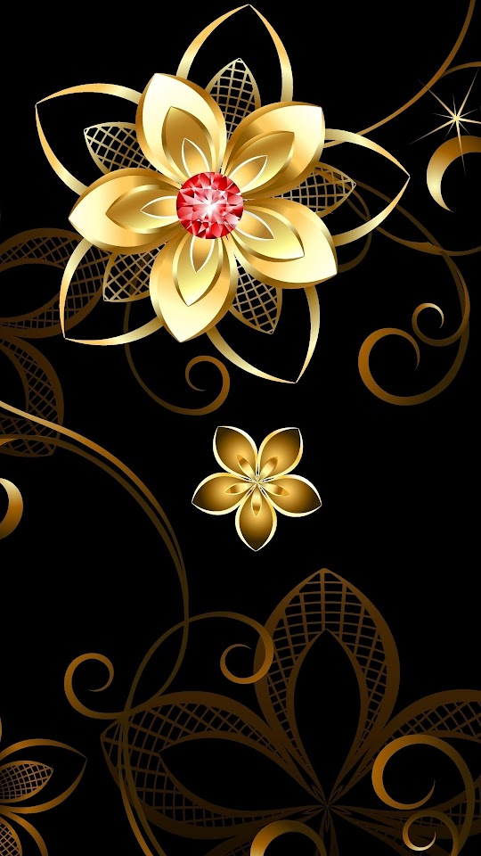 3D Golden Flower Galaxy Note HD Wallpaper