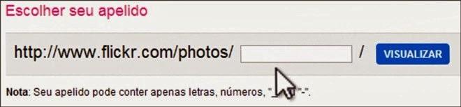 alterar endereço flickr