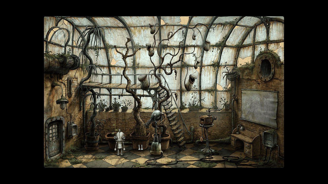 Machinarium greenhouse plants flowers