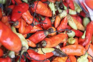 Spicy pepers op de markt in Ubud Bali