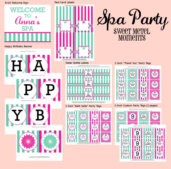 photograph relating to Spa Party Printable referred to as Lovable Metel Times: Spa Celebration - Clean Printable Range
